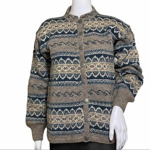 VINTAGE Fair Isle Norway Handknit Wool Sweater S